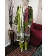 Pakistani Green Printed Straight Shirt 3-Pcs  Arabic  Lawn Suit ,xl - $44.55