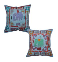 "16"" Vintage Indian Traditional Cotton Cushion P... - $21.67"