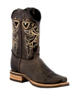 Womens Dark Brown Square Toe Boots Western Cowboy Rubber Sole Botas Vaquera - €67,73 EUR