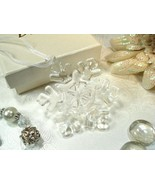 96 Clear Murano Glass Winter Snowflake Ornament Bridal Wedding Party Favor - $388.85
