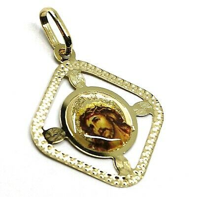 SOLID 18K YELLOW RHOMBUS GOLD MEDAL JESUS CHRIST FACE 22mm, WITH FRAME & ENAMEL