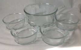 5 Pc Fruit Salad Bowl Set Clear Paneled Glass USA - $14.95