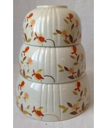 Vintage Set of 3 Hall Superior Autumn Leaf Jewel Nesting Mixing Bowls AS IS - $29.95