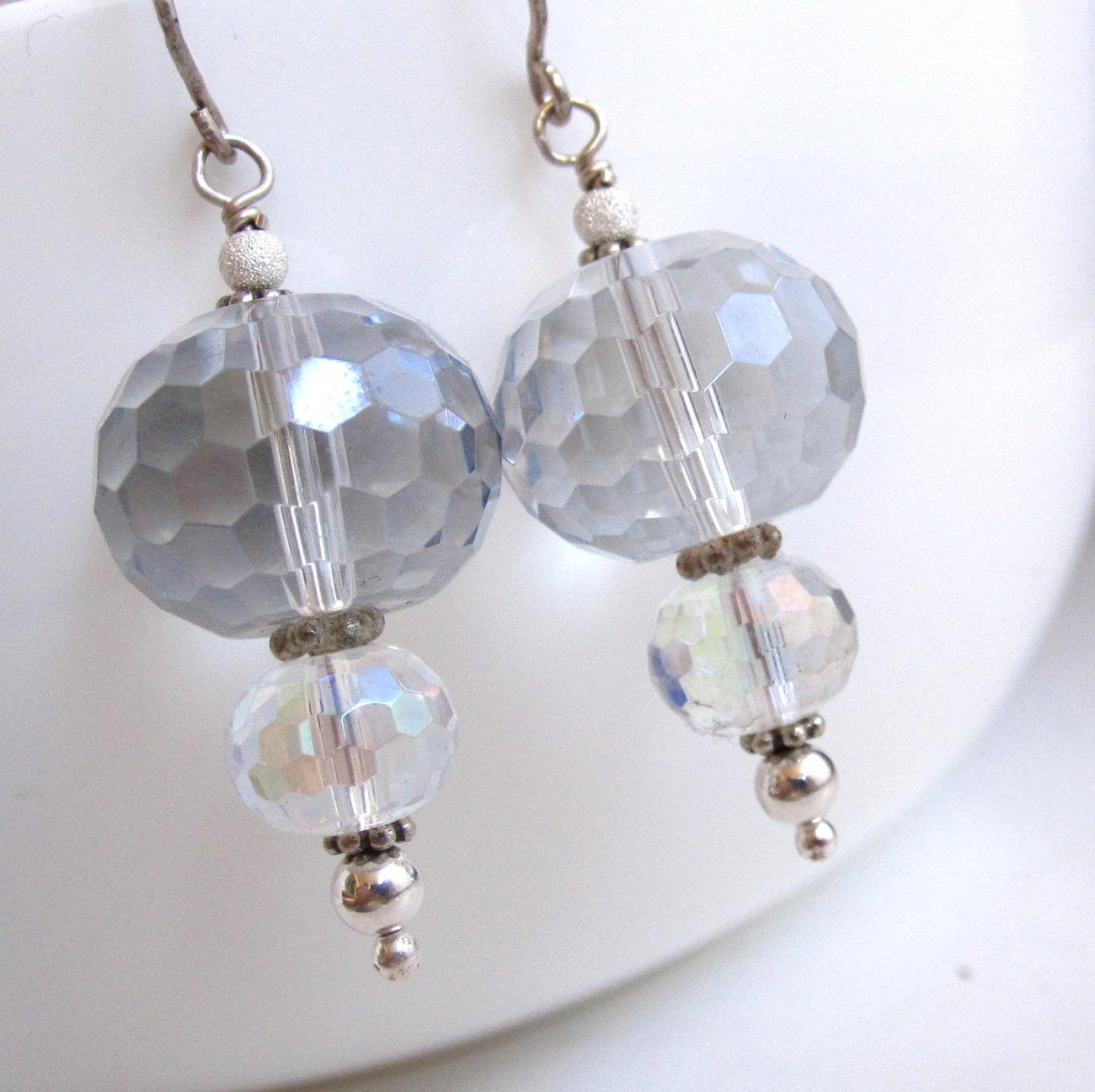 Crystal Lantern Earrings - Mystic Quartz and Sterling
