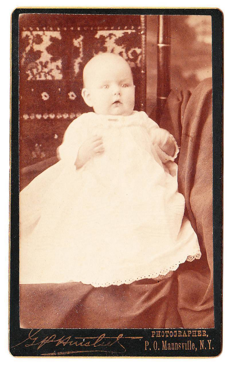 Cdv baby white dress tapestry chair