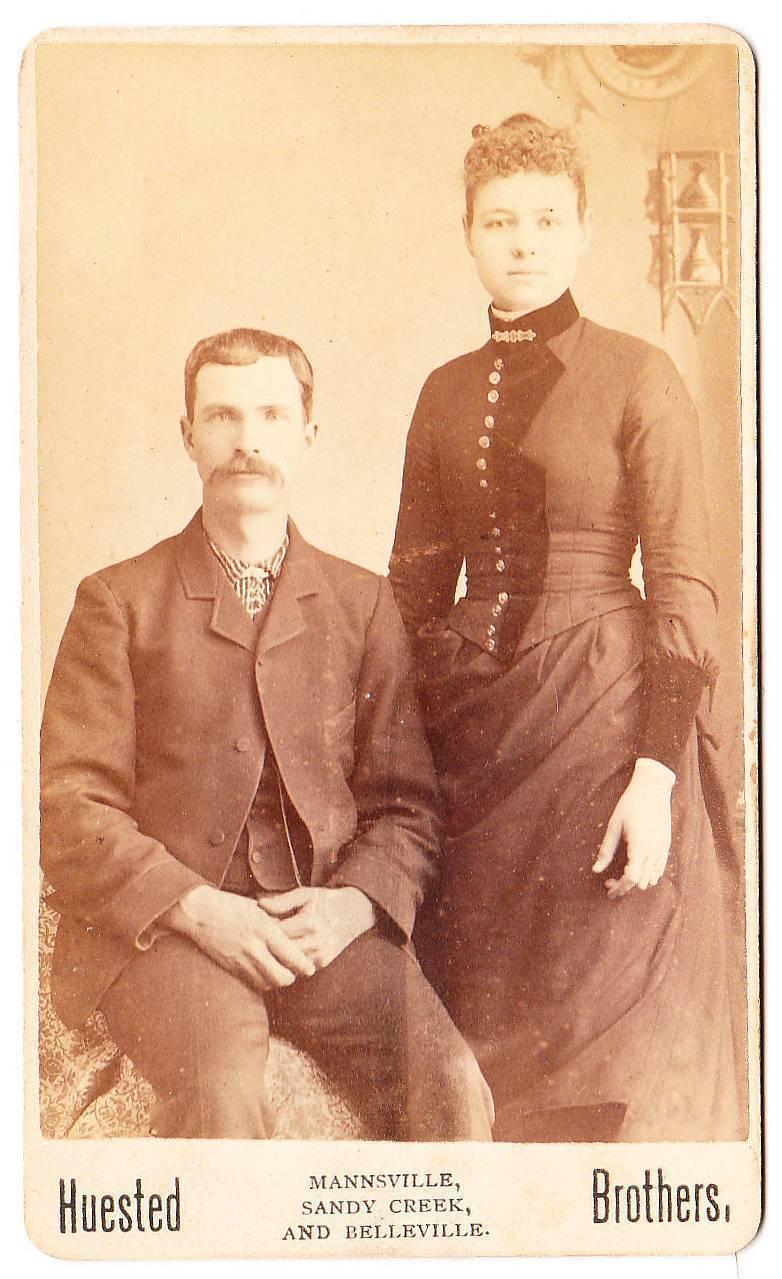 Cdv couple man moustache pretty woman