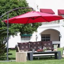 Offset Patio Umbrella Red Outdoor Furniture Cantilever Large Tilt Sun Sh... - $93.05