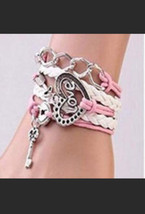 Women's Pink Leather Love Infinity Bracelet - $12.00