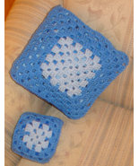 My dolly & me Crocheted pillowghan (blanket folds into compact pillow/ca... - $15.00