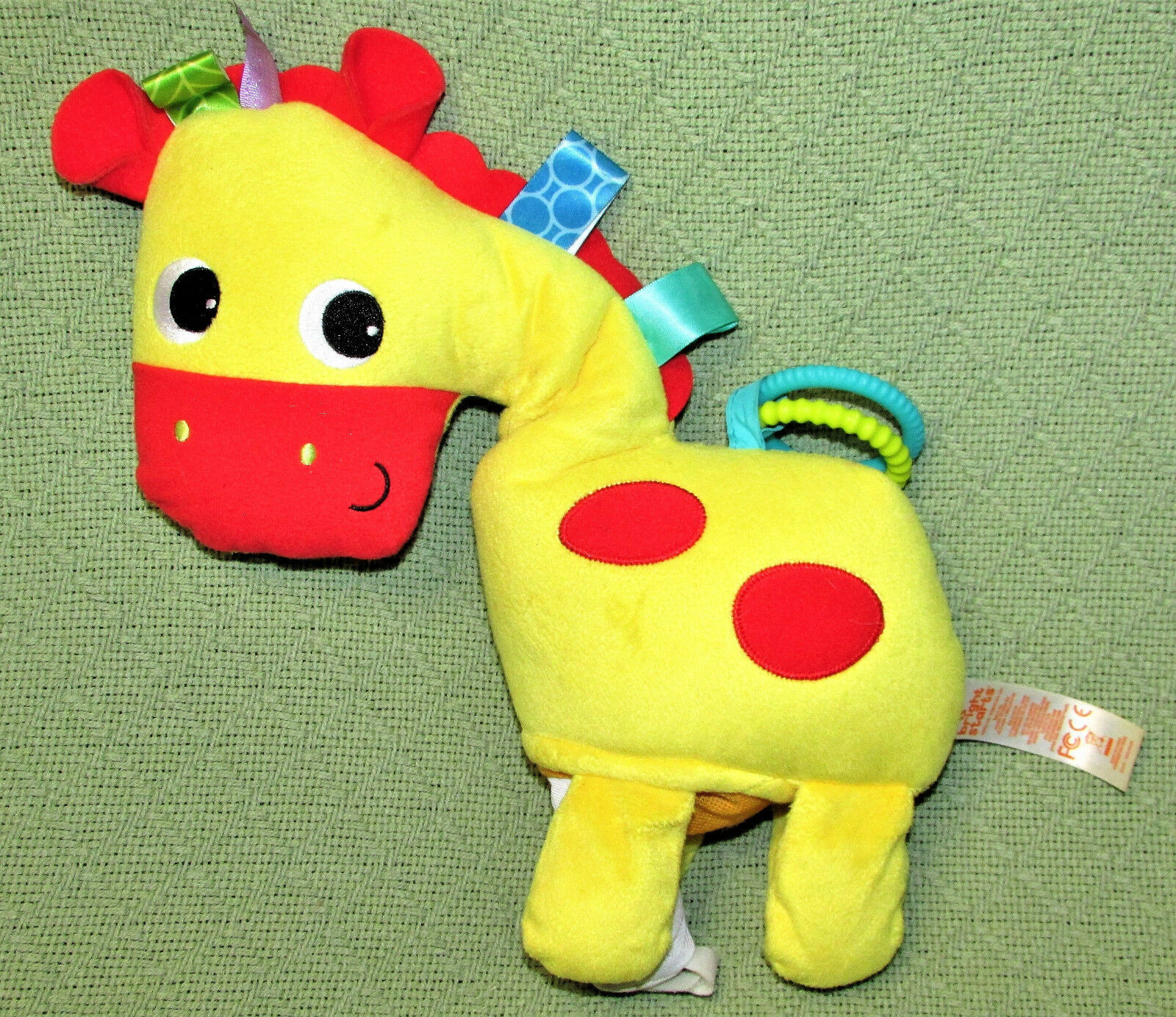 Primary image for Bright Starts Baby Horse Play Pals Clip On Crinkly Plush Sensory Toy Tags YELLOW