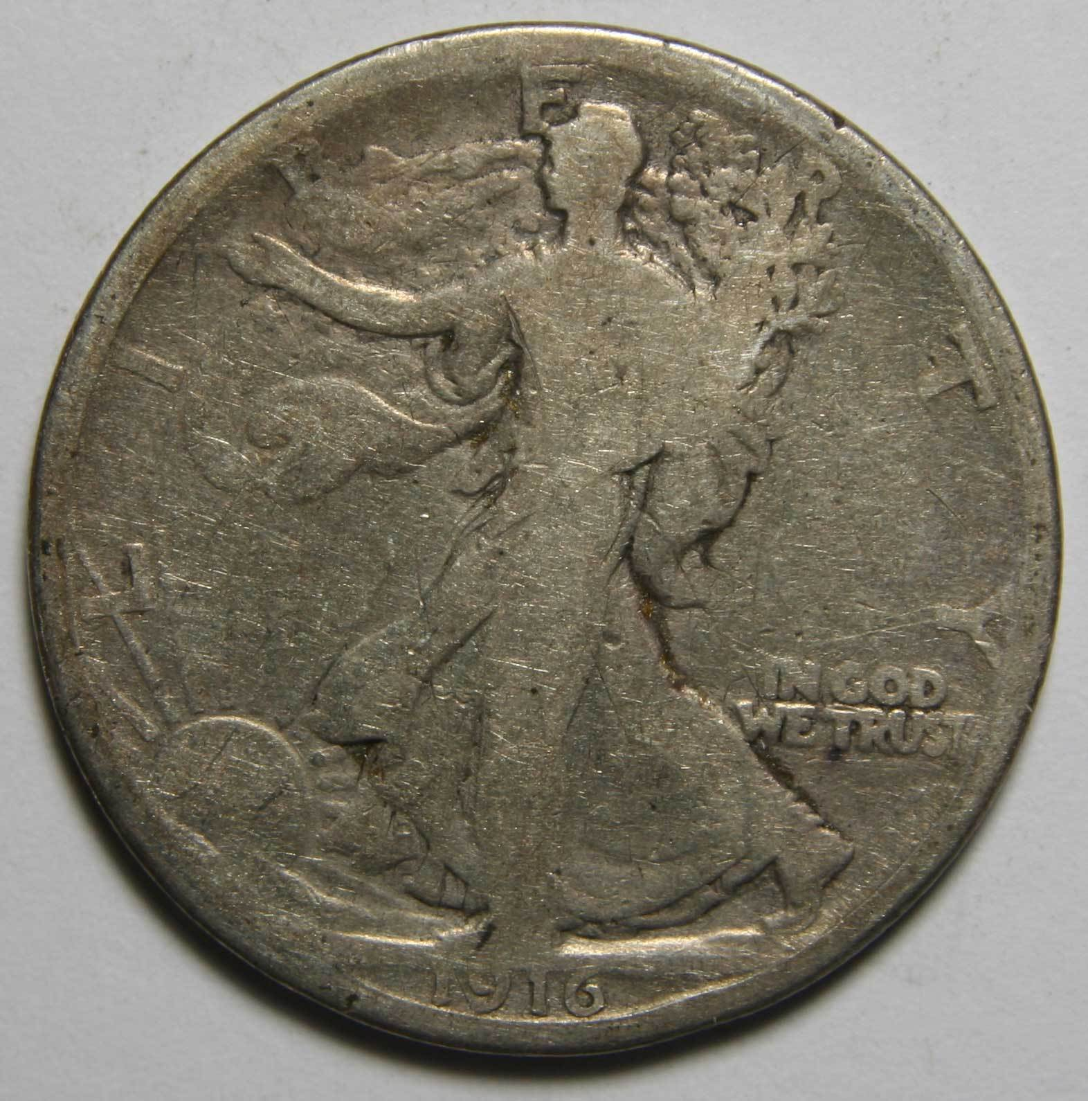 1916 Walking Liberty 50¢ Silver Half Dollar Lot # A 2274