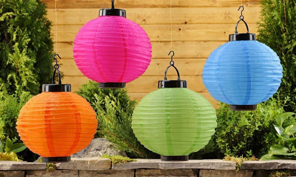 "Set 4  - Solar Powered Round 10""  Garden Party Lanterns LED  Polyester & Plastic"