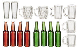 DOLLHOUSE MINIATURES 8PC BEER BOTTLES AND 6PC BEER MUGS SET #G7531 - $13.50