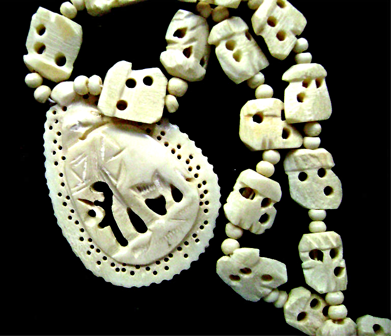 Vintage Hand Carved Bone Elephant Beads And 30 Similar Items