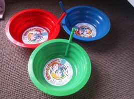 Set of 3 Sip A Bowl Built in Straw Kids  22 oz Made in USA Dishwasher Sa... - $14.99