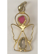 Gold Colored Metal Angel Pendant with a Pink and a Clear Stone Unmarked - $8.00