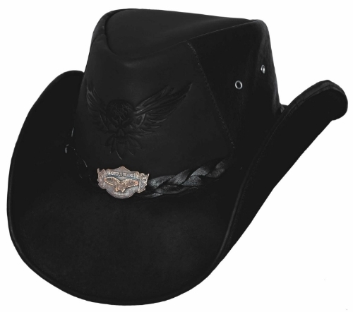 Primary image for Bullhide King Of The Road Leather Cowboy Hat Engraved Silver Concho Eagle Black