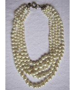 WHITE PEARL TWISTED HAMMOCK MULTI 5 ROWS SHORT NECKLACE NEW J CREW - $49.99