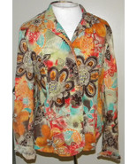 COLDWATER CREEK colorful orange floral long sleeve jacket blouse M (8-12) - $15.99