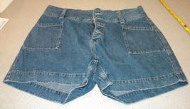 JACKIE BUE cotton denim blue jeans SHORTS Size L 12 button front side pockets - $12.99