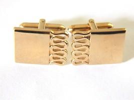 Swank Rectangular Geometric Cufflinks Signed Men's Formal Wear Accessories - $18.58