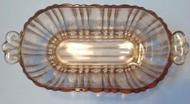 Oval Bowl Pink Anchor Hocking Old Cafe Depression Glass Tab Handles Vintage - $14.85
