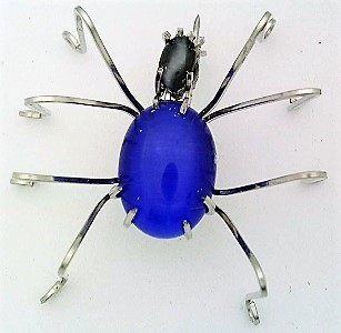 Primary image for Blue Cat Eye Spider Stainless Steel Wire Wrap Brooch 9