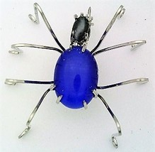 Blue Cat Eye Spider Stainless Steel Wire Wrap Brooch 9 - $28.97