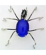 Blue Cat Eye Spider Stainless Steel Wire Wrap Brooch 9 - $28.97