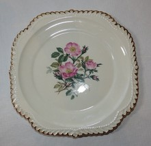 The Harker Pottery Co. Made in USA 22 KT Gold Trim square dessert plate ... - $17.81