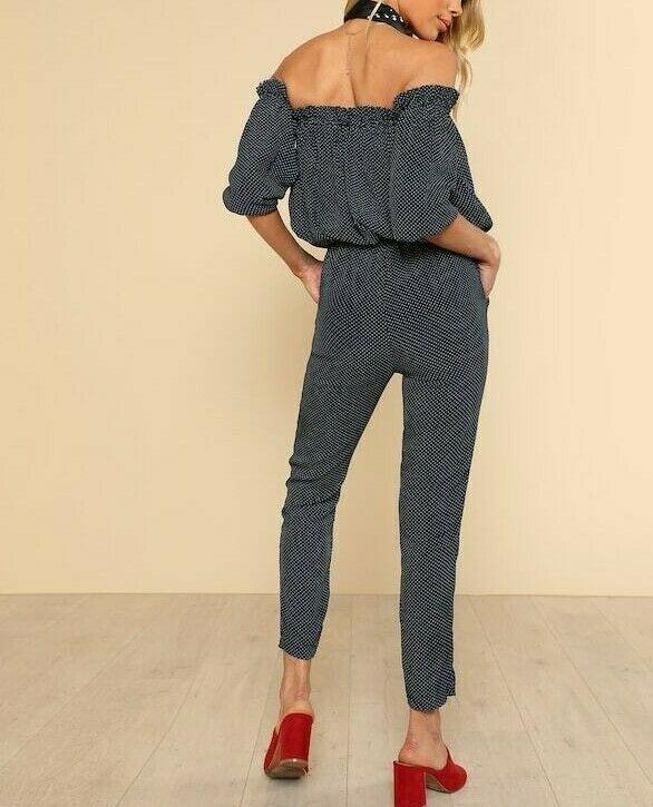 Polka Dot Off Shoulder Tie Waist Pocket Side Blouson Tapered Carrot Jumpsuit