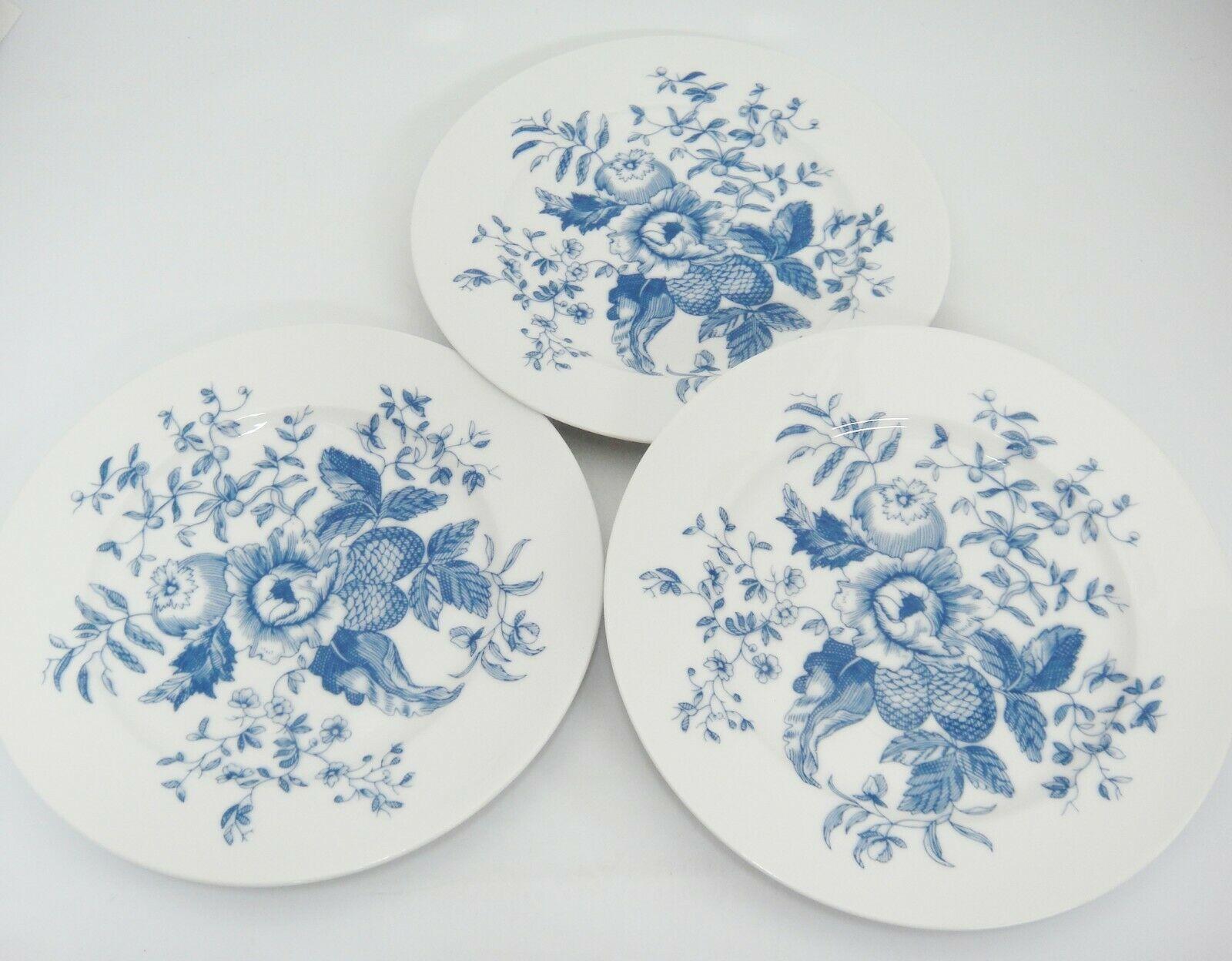 Royal Worcester Rhapsody Salad Plates Lot of 3 Blue Floral England Excellent image 4