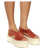 Chloe Lauren Wave Platform Espadrilles Sandals Earthy Red Suede Shoes 39 - $269.00