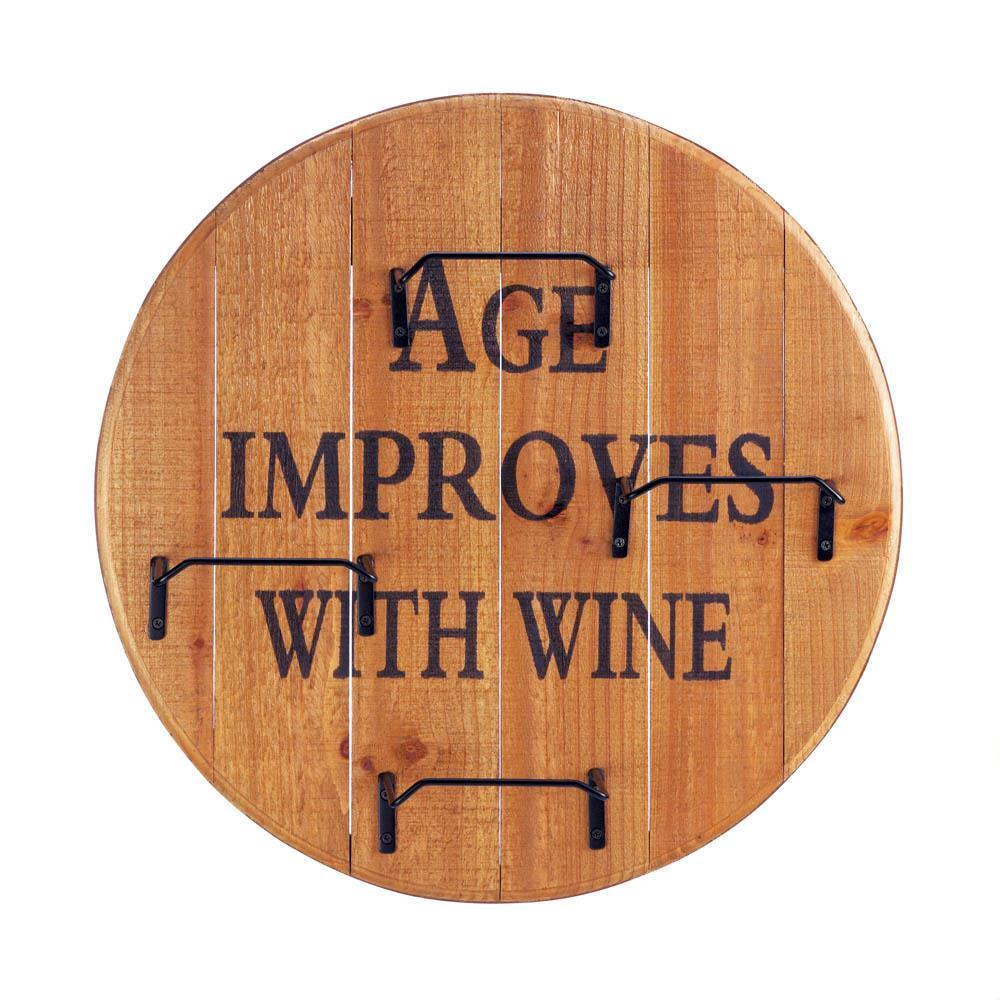 Age Improves with Wine Round Wine Wall Rack Holds 4 Wine Bottles