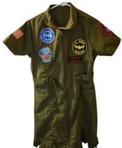 Top Gun Womens Medium Green Belted Flight Dress Costume Feat Front Zippe... - $18.49