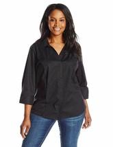 Riders by Lee Indigo Women's Bella 3/4 Sleeve Woven Shirt, Black Soot, XX-Large  - $21.49