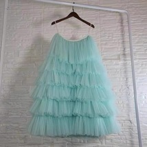 Ocean Blue Layered Tulle Skirt Outfit High Waisted Tulle Skirt Princess Skirt image 1