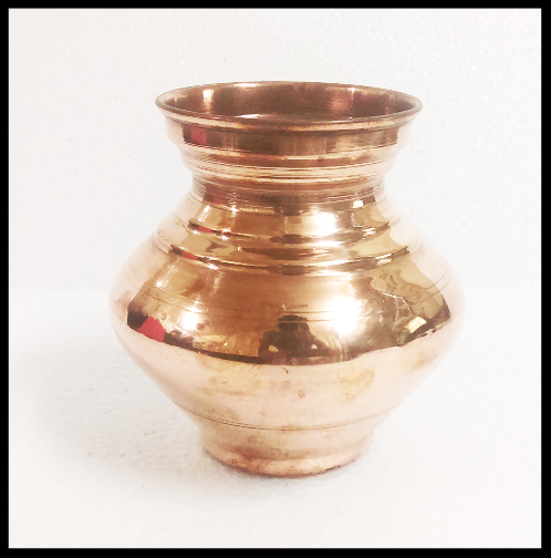 TRADITIONAL INDIAN COPPER WATER POT KALASH LOTA STORAGE DRINKING RITUALS GOD