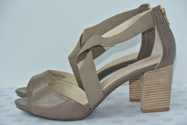 NEW Rockport Womens Sz 10 M Taupe Leather Cross Ankle Strap Heels Sandals - $29.69