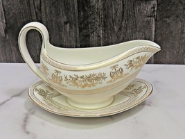 Wedgwood COLUMBIA GOLD White Gravy Boat w/ Detached Under Plate - $53.46