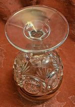 "Antique Goblet Glass Gold Trim EAPG Star in Bullseye Water Pressed 5 3/4"" image 6"