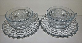 2 Anchor Hocking Glass Company Bubble Sapphire Blue Cups & Saucers Set Vintage - $24.74