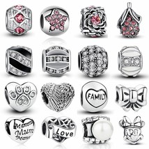 Heart Charm Silver Crystal Beads Pandora Love Mom Authentic Tibetan DIY ... - $3.63