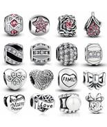 Heart Charm Silver Crystal Beads Pandora Love Mom Authentic Tibetan DIY ... - $3.59
