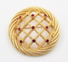 Vintage Christian Dior Basket Weave Lattice Work Rhinestone Brooch Pin - $296.98