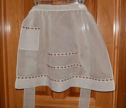 Vintage half apron white dotted swiss & apples 1 pocket handmade - $10.66