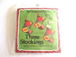 Vtg Christmas Tree Ornaments Three Stockings Kit by Yours Truly Patchwor... - $10.99