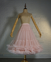 Blush Pink Layered Midi Tulle Skirt Outfit Ballerina Skirt A-Line Puffy Tutus image 4