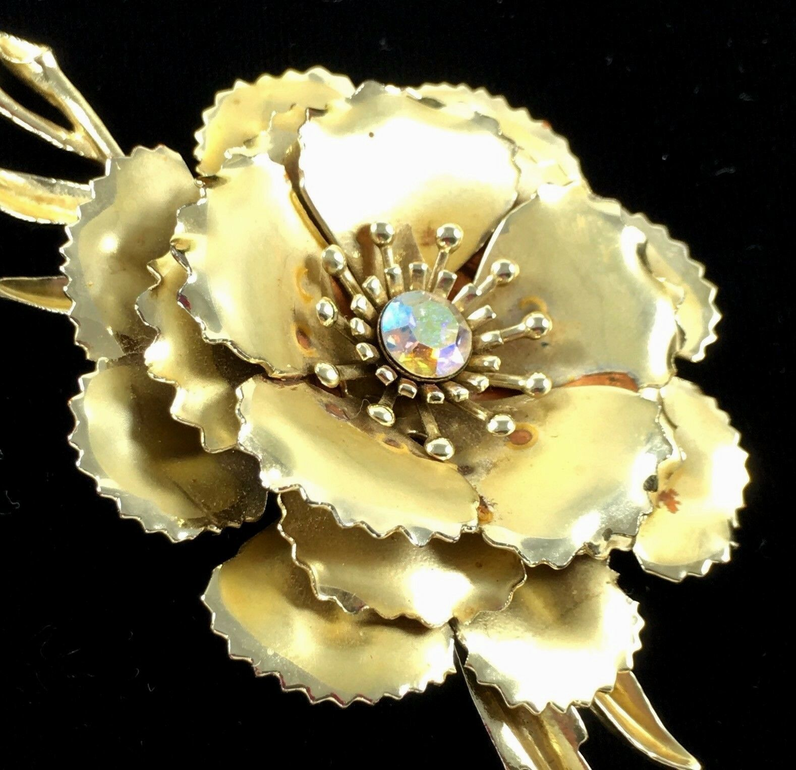 Statement Coro Pin Brooch Signed Flower AB Gold Toned Wedding Bridal Gift Vtg