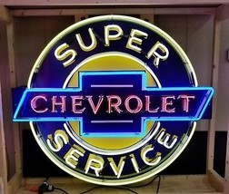 Super Chevrolet Service Hand Painted Approx 4FT X 3.5FT Neon Sign *Gas & Oil - $2,200.00